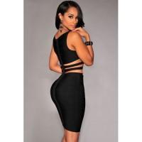 90dc317ff Cut-Out Sides Black Rayon Bandage Dress