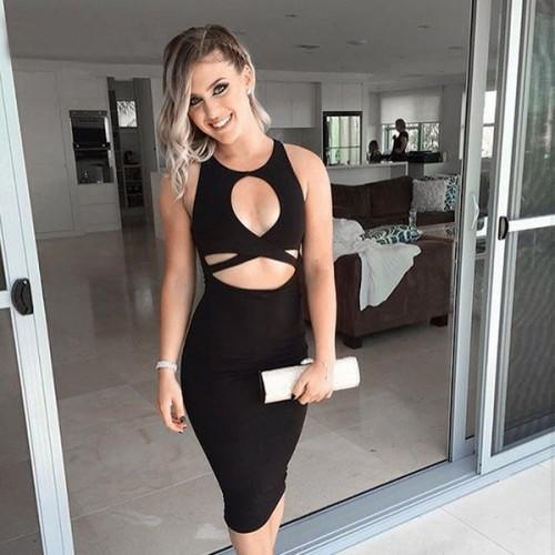 87a4a4218 ... Black Peephole Plunge Midi Dress ...